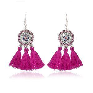 3/$20 New Magenta & Silver Tassel Earrings